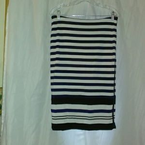 WHBM Blue White Striped Pencil Skirt Size 8